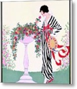 Vogue Cover Featuring A Woman Smelling A Rose Metal Print