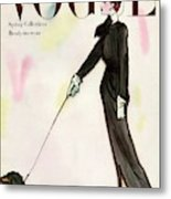 Vogue Cover Featuring A Woman Walking A Dog Metal Print