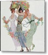 Vogue Cover Featuring Three Women With Flowers Metal Print