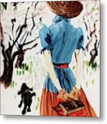 Vogue Cover Illustration Of A Woman Walking Metal Print