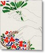 Vogue Cover Illustration Of Hands Holding Metal Print