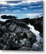 Volcanic Coastline And Cloudy Sunset Metal Print