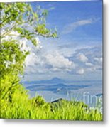 Volcano Within A Lake Metal Print by George Paris
