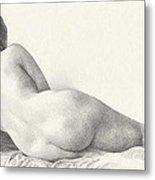 Voluptuous Reclining Nude Luxuriating On Victorian Settee After Eakins Metal Print