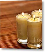 Votive Candle Burning Metal Print