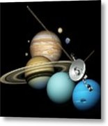 Voyager 2 And Planets Metal Print
