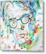 W. B. Yeats  - Watercolor Portrait Metal Print