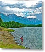Wading In Johnson Lake In Banff Np-alberta Metal Print