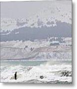 Wading Into Winter Surf Metal Print