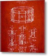 Waechtler Snare Drum Patent Drawing From 1910 - Red Metal Print