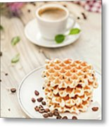 Waffles With Coffee Metal Print