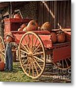 Wagon Full Of Pumpkins Metal Print