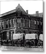 Wagon Train In Downtown Spokane - 1880 Metal Print