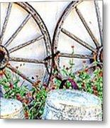 Wagon Wheel Flowers Metal Print