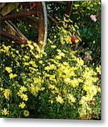 Wagon Wheel Flowers Metal Print