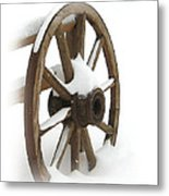 Wagon Wheel In Snow Metal Print