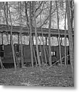 Wagons In The Forest In Infrared Light In Netherlands Metal Print