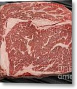 Wagyu Beef Steak In A Pan From Above Metal Print by Paul Cowan