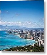 Waikiki Beach From Diamond Head Metal Print