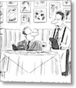 Waiter Reads The Specials To A Man At Dinner Metal Print