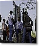Waiting At The Top Of The Steps Next To The Dal Lake In Srinagar Metal Print