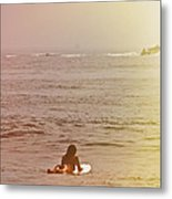 Waiting For A Wave Metal Print