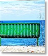 Waiting For Summer - The Green Bench Metal Print
