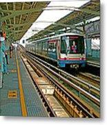 Waiting For The Sky Train In Bangkok-thailand Metal Print