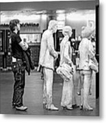 Waiting In Line At Grand Central Terminal 1 - Black And White Metal Print
