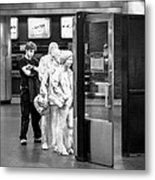 Waiting In Line At Grand Central Terminal 2 - Black And White Metal Print