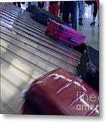 Waiting People Claim Baggage Airport Conveyor Belt Metal Print