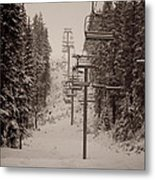Waiting Ski Lifts Metal Print