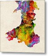 Wales Watercolor Map Metal Print