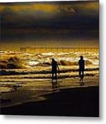 Walk In The Surf Colored Metal Print