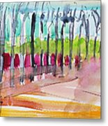 Walking Along The Street Metal Print