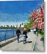 Walking Around Reservoir In Central Park Metal Print