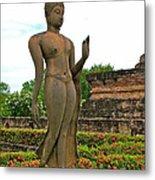 Walking Buddha Image In Wat Sa Si In Sukhothai Historical Park-t Metal Print