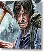 Walking Dead Sketch Cover Daryl Metal Print