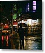 Walking Home In The Rain Metal Print