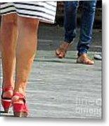 Walking In Red Sandals Metal Print