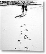 Walking In The Beach Metal Print