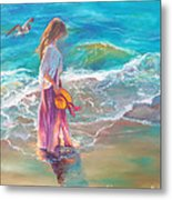 Walking In The Waves Metal Print