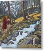 Walking In The Woods One Day Metal Print