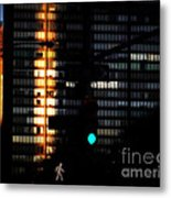 Walking Man - Architecture Of New York City Metal Print