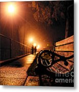 Walking On A Misty Evening Metal Print