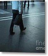 Walking On A Train Station Metal Print