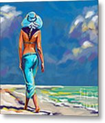 walking on the beach More Color Metal Print