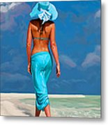 walking on the beach V Metal Print