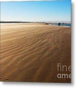 Walking On Windy Beach. Metal Print