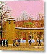 Walking Sherbrooke By Roddick Gates Mcgill Campus View Of Mont Royal Montreal Scenes Carole Spandau  Metal Print